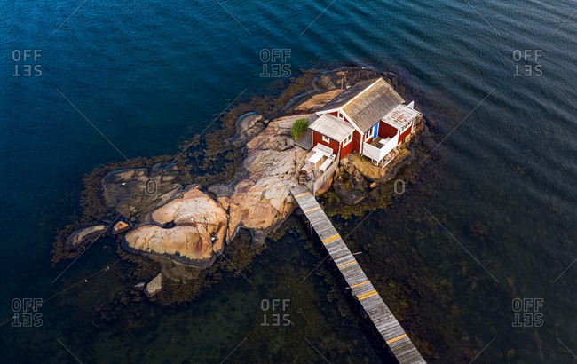 Aerial view of a red cottage , Gothenburg archipelago, Sweden.