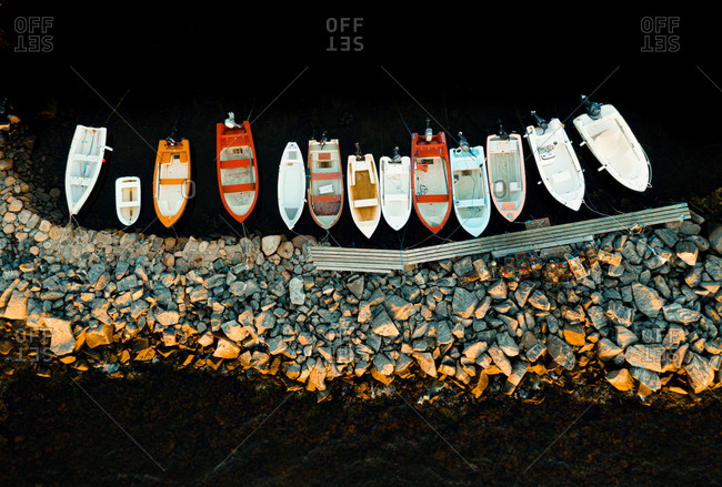 Aerial view of anchored boats at sunset, Gothenburg archipelago, Sweden.