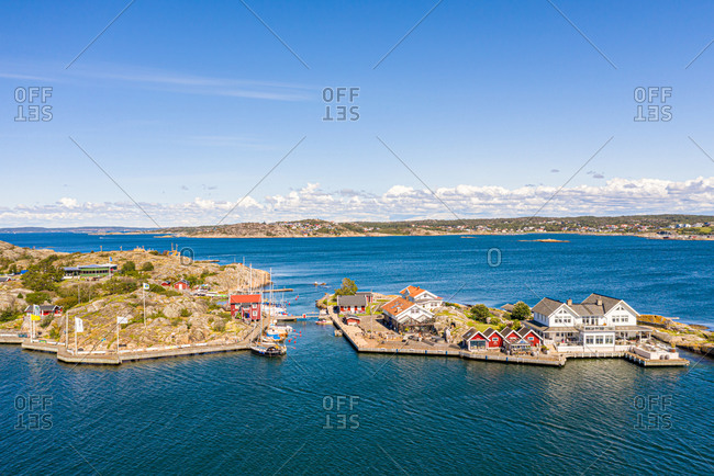 panoramic Aerial view of  island with boats anchored in a small harbor,  Gothenburg archipelago, Kattegat, Sweden.