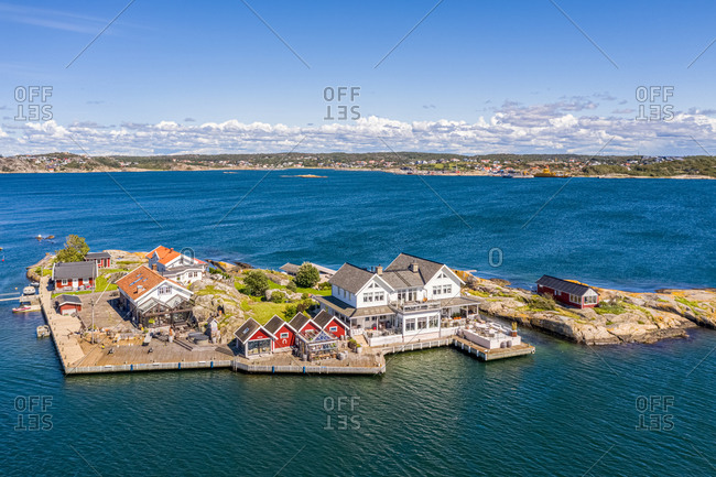 panoramic Aerial view of  island, Gothenburg archipelago, Kattegat, Sweden.
