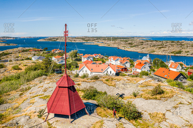 Aerial view of the watch tower, overlooking the islands Kalvsund, Gothenburg archipelago, Kattagat, Sweden.