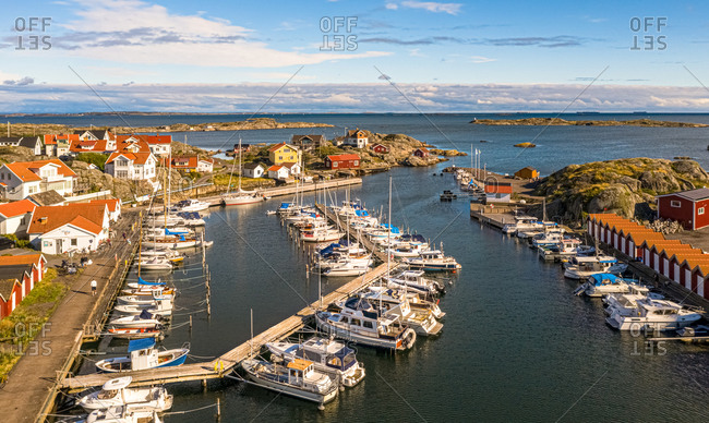 Aerial view of harbor area with anchored boats, Gothenburg Archipelago, Sweden.