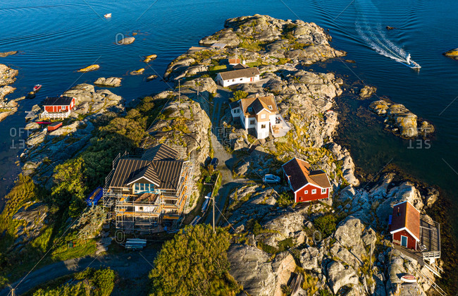 Aerial view of with an arriving boat, Gothenburg Archipelago, Sweden.