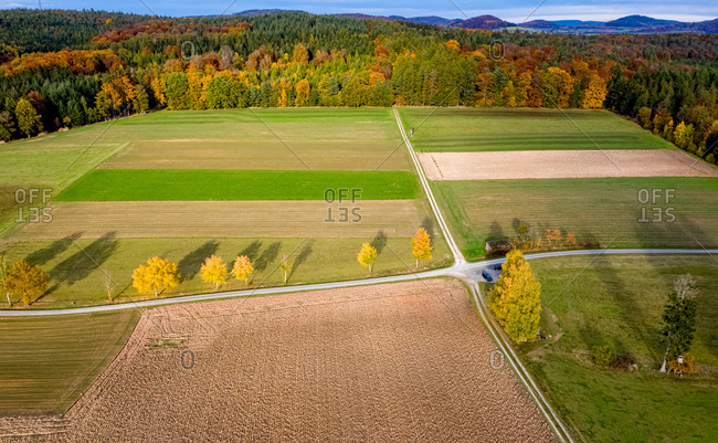 Aerial view of a rural landscape in autumn, Hessia, Germany.