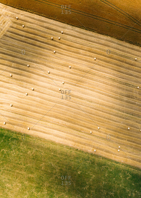 Abstract aerial view of straw bales in field in Chemnitz, Germany.