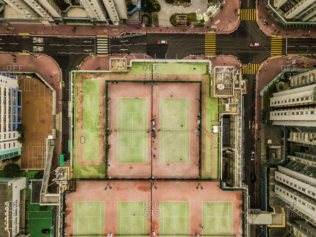 Aerial view of  Tennis Courts on a roof top, Kowloon, Hong Kong.