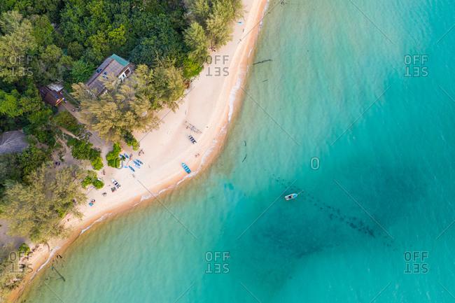 Aerial view of  Sunset Beach, Koh Rong Sanloem, Cambodia