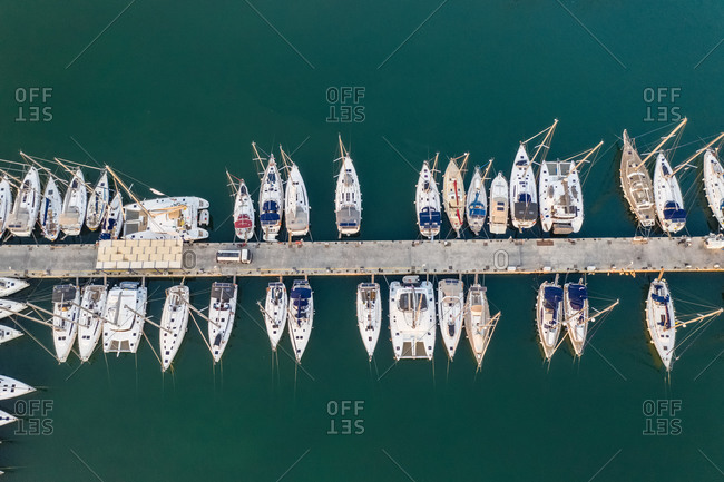 Aerial view of the wharf with many ships, in the Marina Alimnos, Athens, Greece