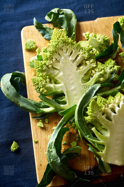 Romanesco broccoli cut in slabs