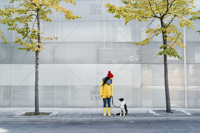 Woman wearing yellow raincoat looking at dog while standing on footpath during autumn