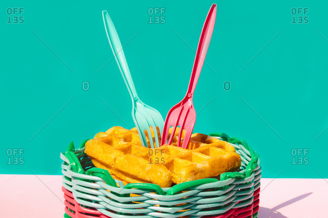 Surface level of waffle in basket on table