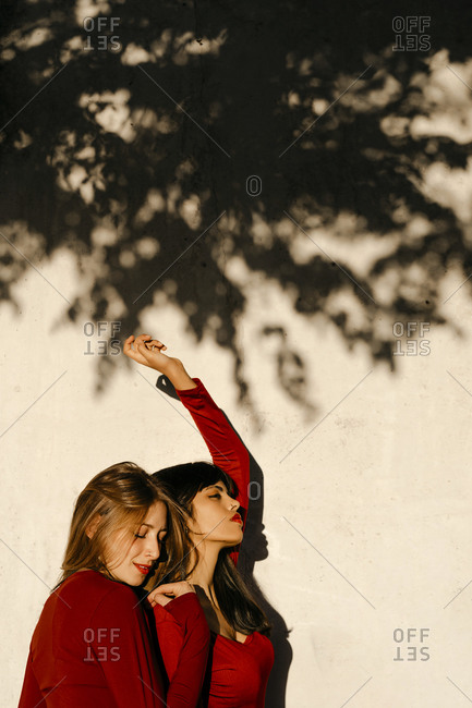 Young woman leaning on friend's shoulder standing by tree shadow
