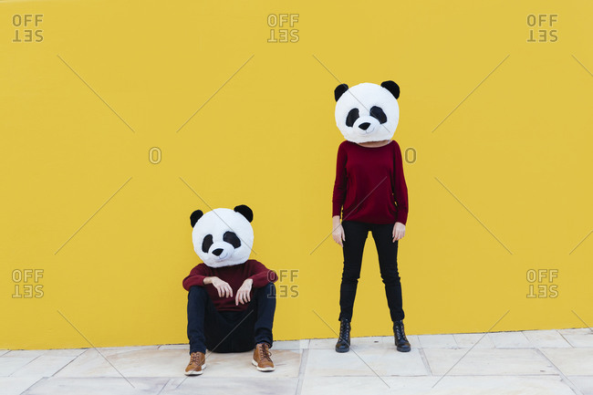 Male and female friends in panda mask against yellow wall