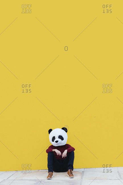 Male in panda mask sitting against yellow wall