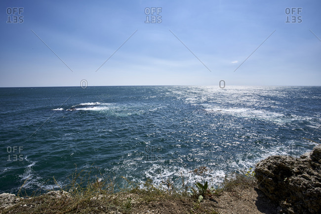 View of the Black sea coast against a clear blue sky. Yailata National Nature Reserve