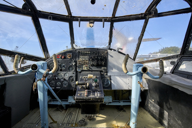 Burgas, Bulgaria; October 24, 2020; Inside the cockpit of the vintage Russian aircraft Antonov 12 (An-12). It served Bulgaria for 20 years.