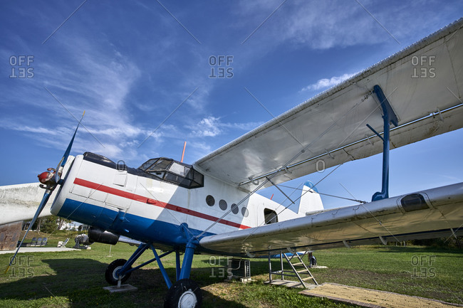 Burgas, Bulgaria; October 24, 2020; View of the vintage Russian aircraft Antonov 2 (An-2 P) It was used for agrochemical activities.