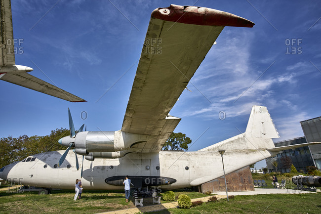 October 24, 2020: Burgas, Bulgaria; View of the vintage Russian aircraft Antonov 12 (An-12). This is the only An-12 aircraft left in Bulgaria.