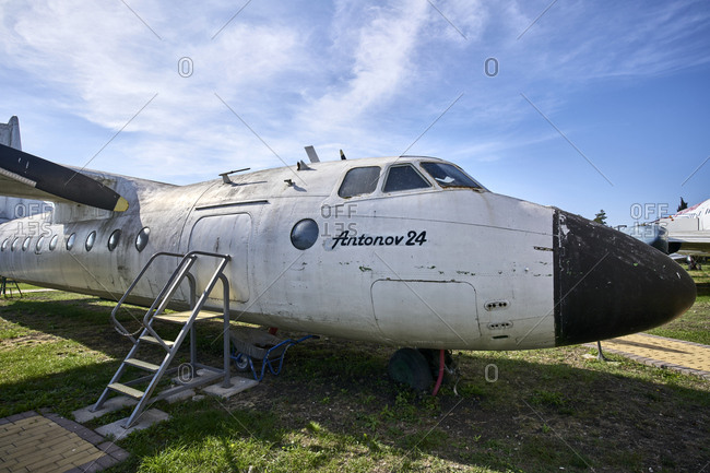 October 24, 2020: Burgas, Bulgaria; View of the vintage Russian aircraft Antonov -24  (An-24). It was used by the former Bulgarian Airlines for 23 years.