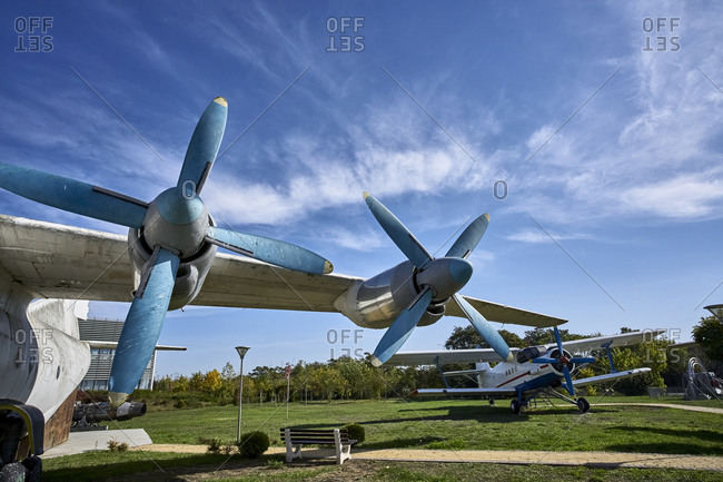 October 24, 2020: Burgas, Bulgaria; October 24, 2020; This vintage Russian aircraft Antonov 2 (An-2 P) served in the agricultural aviation.