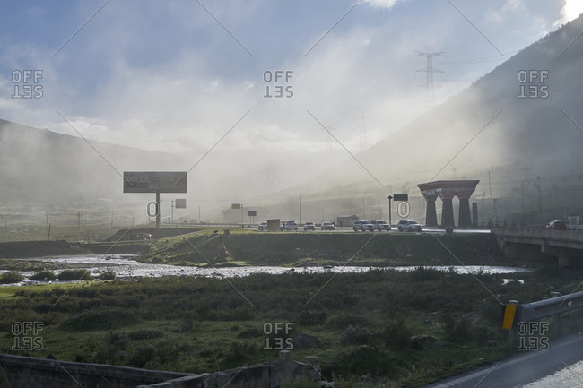 August 10, 2019: Chengdu-Lhasa Highway, Sichuan, China;  The Chengdu-Lhasa Highway, also called Sichuan-Tibet Highway for short, is a modern upgrade of the ancient Sichuan-Tibet Highway. It starts from Chengdu, the capital of Sichuan Province in the east, and ends at Lhasa, the capital of Tibet in the west.