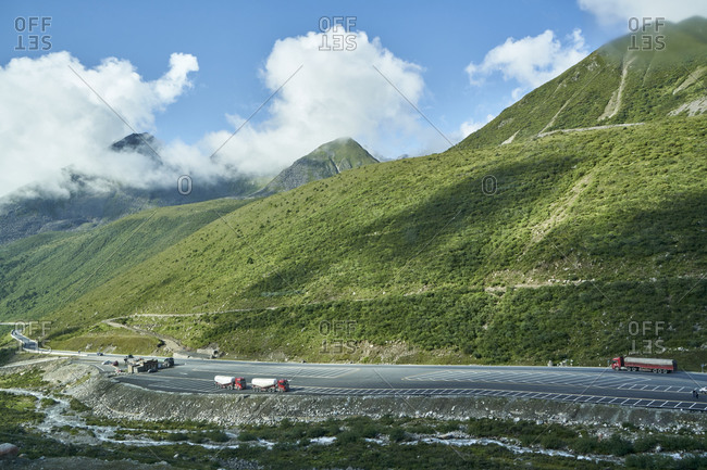 Chengdu-Lhasa Highway, Sichuan, China; August 10, 2019; The Chengdu-Lhasa Highway, also called Sichuan-Tibet Highway for short, is a modern upgrade of the ancient Sichuan-Tibet Highway. It starts from Chengdu, the capital of Sichuan Province in the east, and ends at Lhasa, the capital of Tibet in the west.