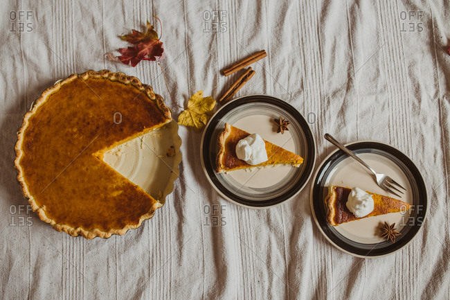 Pumpkin pie slices served on plates from above