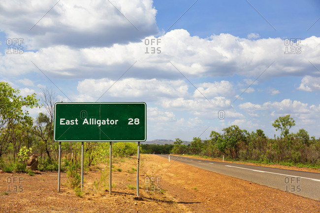 Road sign for village of East Alligator in the Northern Territory of Australia