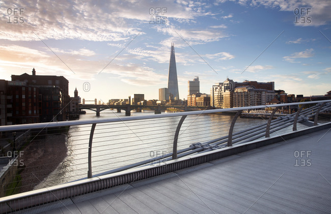 View of Thames river seen from Millennium bridge, London, England