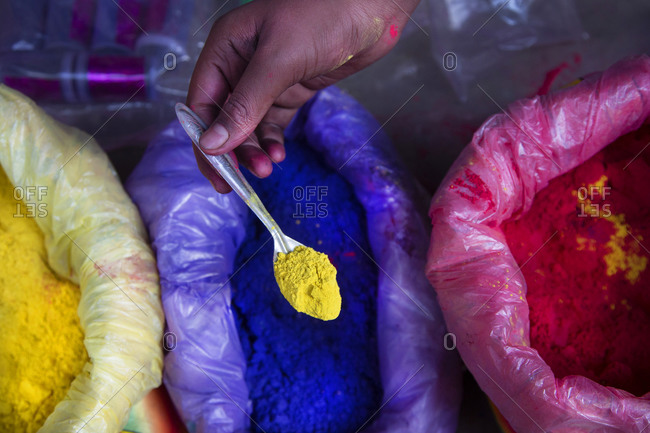 Colorful powders for sale for the Holi festival of Colors in Mathura, India