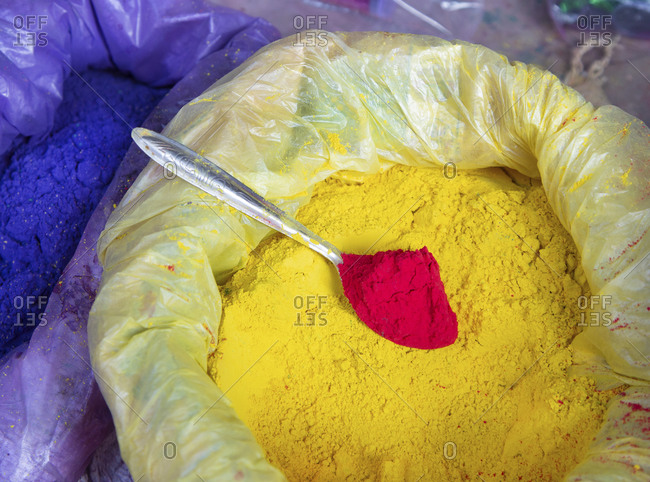Close up of colorful powder to be thrown at the Holi Festival of Color