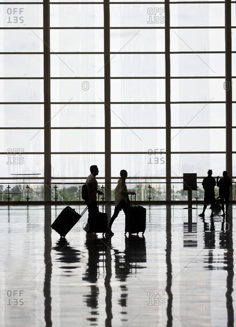 Las Vegas, Nevada, USA - May 2, 2018: Passengers waiting at the Las Vegas airport departure area