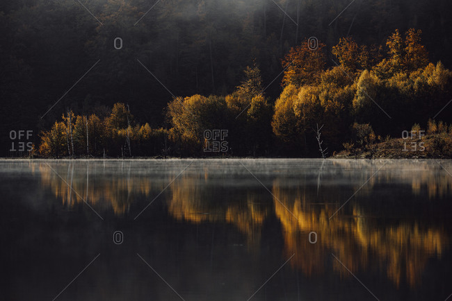 Color changing trees reflecting in a mountainside lake in autumn