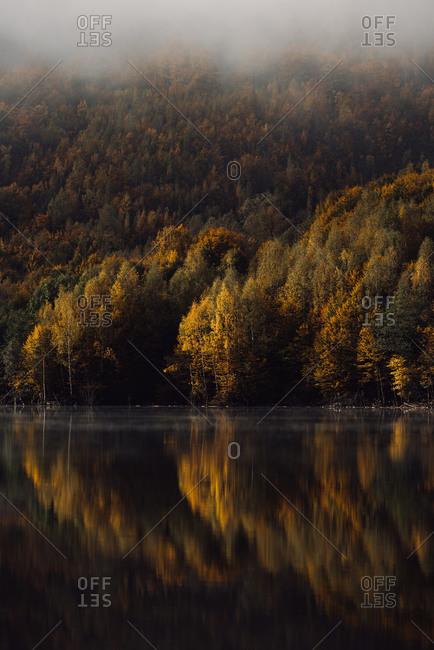 Beautiful color changing trees reflecting in a mountainside lake in autumn