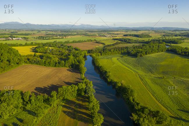 Aerial view over Otter Creek in Weybridge, Vermont