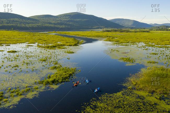 Bird's eye view over kayakers in Bristol Pond, Bristol, Vermont
