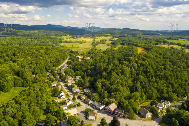 Aerial view over green countryside and small town of West Pawlet, Vermont