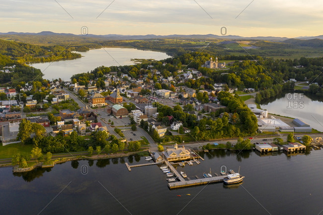 Aerial view over the town of Newport, Vermont