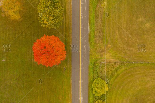 Aerial view of Weybridge, Vermont in autumn