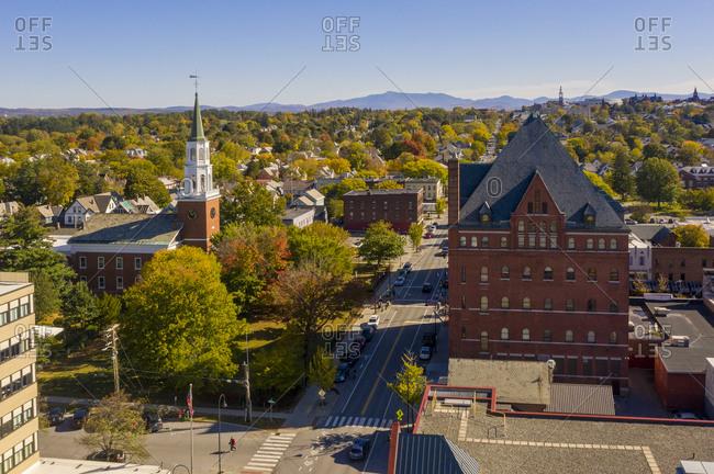 View over the city of Burlington, Vermont