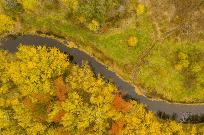 View over Lewis Creek in autumn, Ferrisburgh, Vermont
