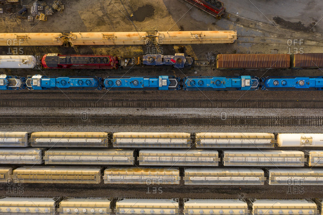 Burlington, Vermont - October 25, 2020: Drone shot over railway station and train cars