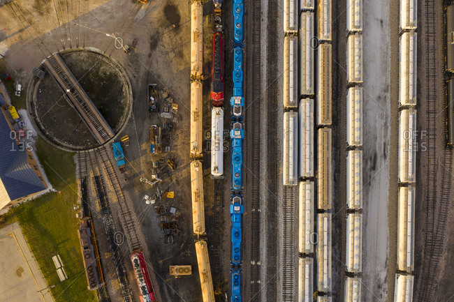 Drone shot over railway station and train cars in Burlington, Vermont