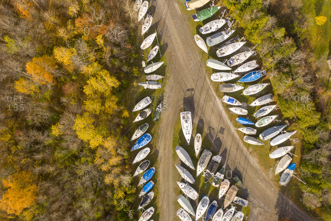 Aerial view over sailboats in a row on land, in North Hero, Vermont