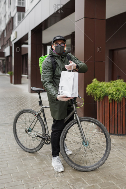 Cyclist delivery service during covid-19 in Penza, Russia