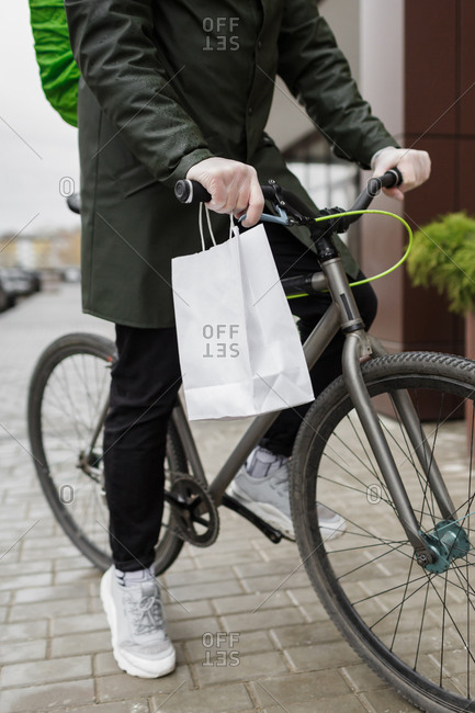 Bicycle delivery service during covid-19 in Penza, Russia