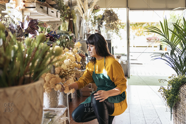 Stock photo of adult woman organizing flowers and plants in flower shop.