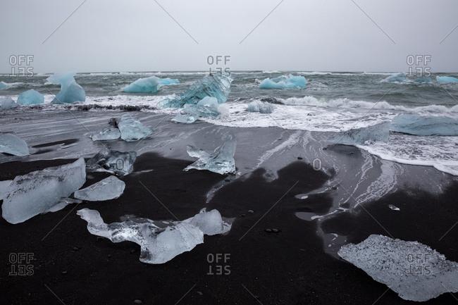 Black sand strewn with iceberg chunks on diamond beach, iceland