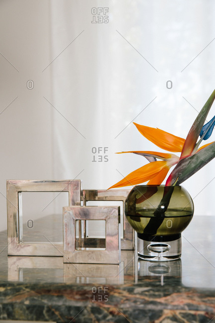 Colorful cut flower in a round vase beside decorative squares on a shiny surface