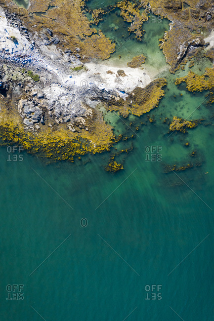 Aerial drone view of coastal maine at low tide